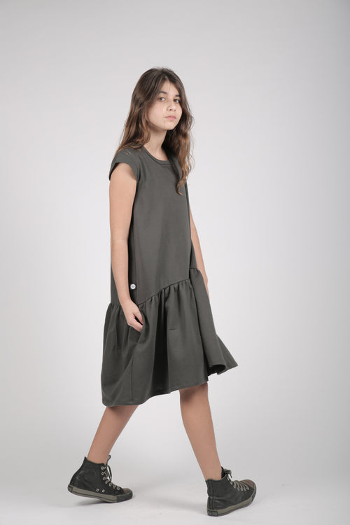 Teens charcoal drop waist dress with a patch