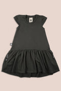 Girls charcoal drop waist dress with a patch