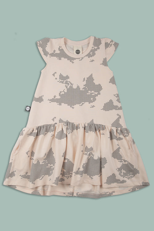 Girls nude drop waist dress with earth dot print