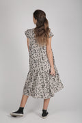 Teens grey drop waist dress with puzzle print