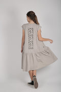 Teens grey drop waist dress with patch