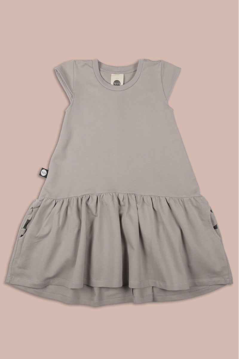 Girls grey drop waist dress with patch
