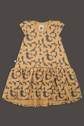 Teens mustard drop waist dress with puzzle print