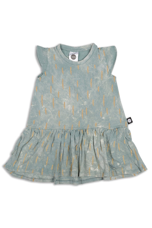 Teen girls dusty teal drop waist dress