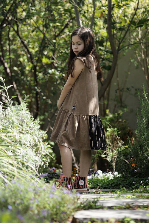 Girls dusty brown drop waist dress