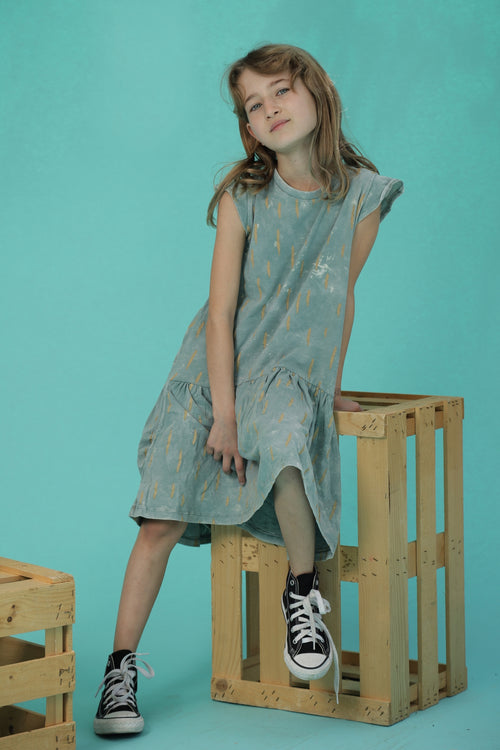 Girls dusty teal drop waist dress