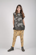 Teens charcoal sleeveless hoodie with earth dot print