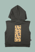Teens charcoal sleeveless hoodie with patch