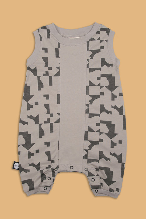 Grey square sleeveless romper with puzzle print