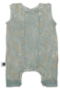Baby dusty teal sleeveless square romper