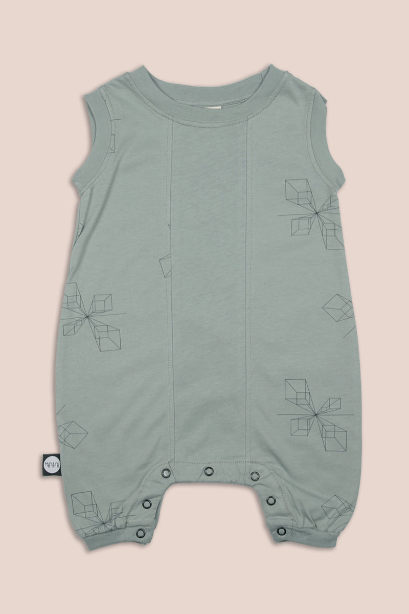 Dusty turkiz square sleeveless romper with perspective print