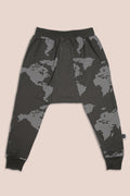 Baby charcoal triangle harem pants with earth dot print