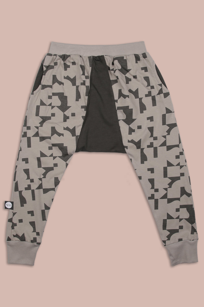 Kids grey triangle harem pants with puzzle print