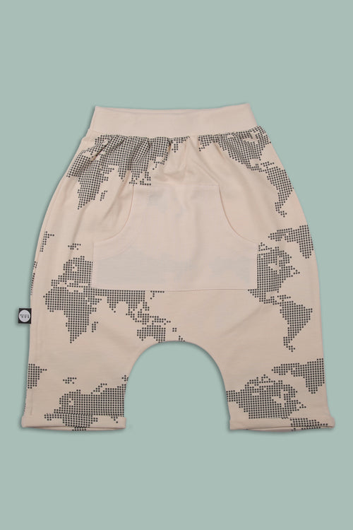 Teens nude 3\4 baggy pants with an all over earth dot print