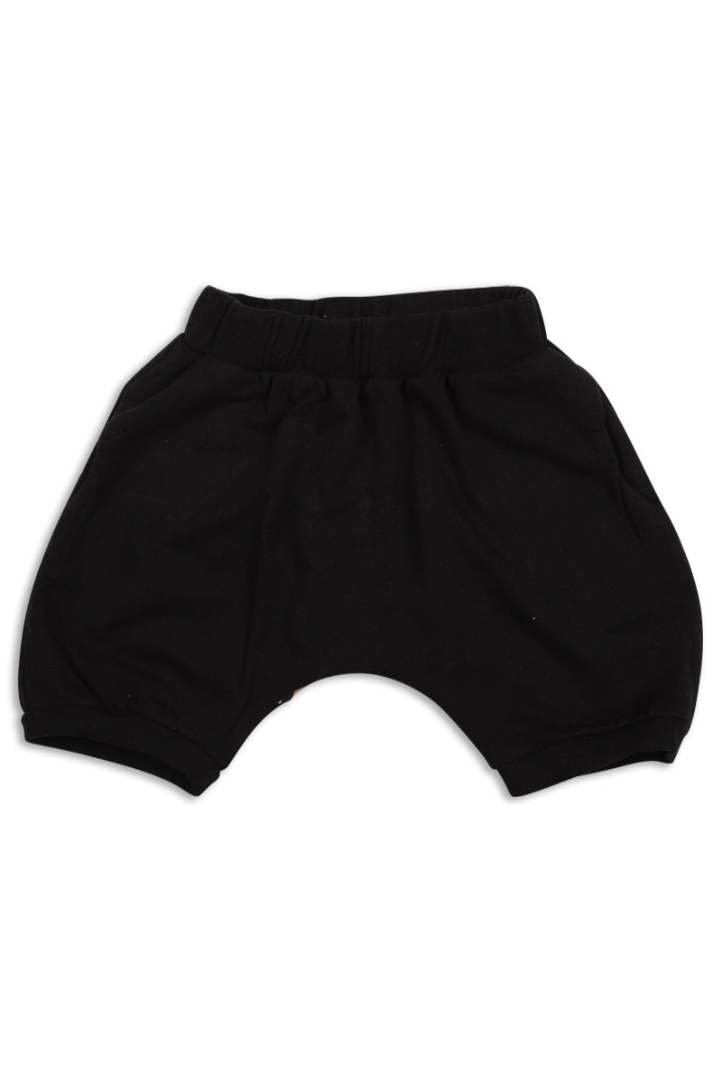 Kids unisex black diaper shorts