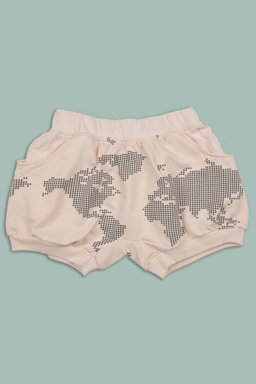 Kids nude diaper shorts with an earth dot print