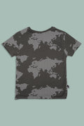 Teens charcoal T shirt with earth dot print