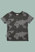 Kids charcoal T shirt  with earth dot print