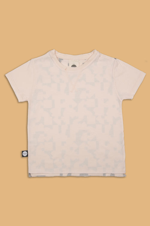 Baby nude T shirt with puzzle print