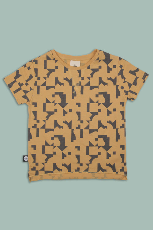 Teens mustard T shirt with puzzle print