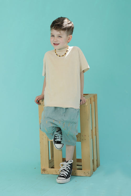 Kids unisex dusty teal 3/4 baggy pants