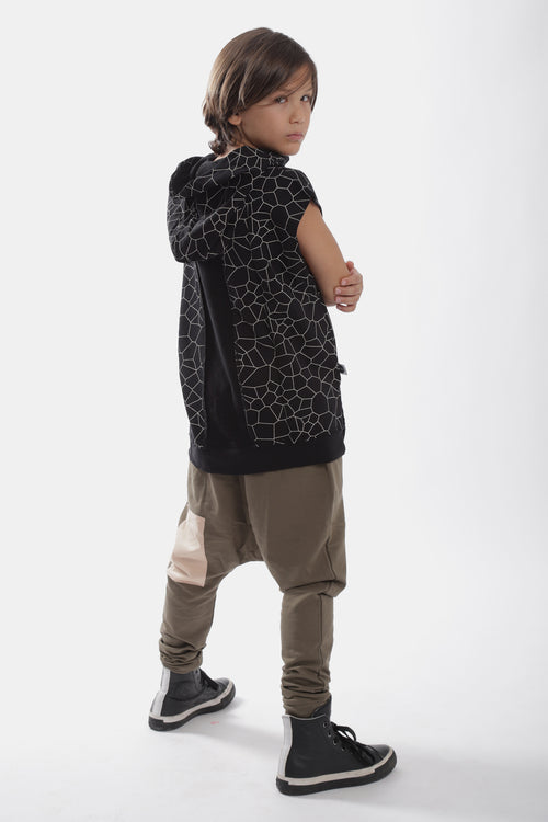 Kids khaki baggy pants with light orange patch