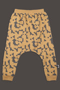 Kids mustard baggy pants with puzzle print