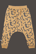 Teens mustard baggy pants with puzzle print