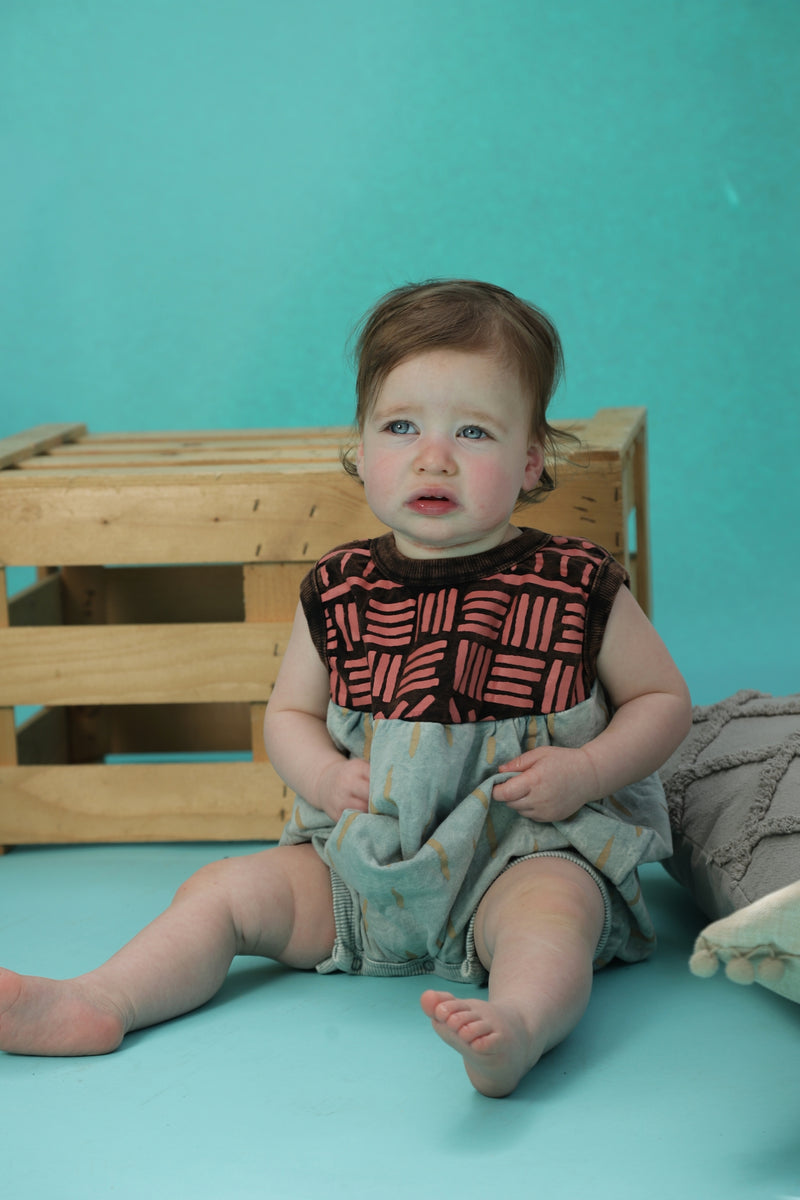 Baby Dusty teal puffy sleeveless romper