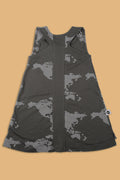Teens charcoal black tank dress with earth print