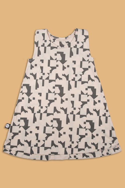 Teens nude tank dress with puzzle print