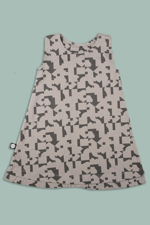 Teens grey tank dress with puzzle print