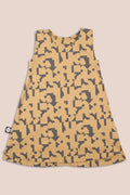 Teens mustard tank dress with puzzle print