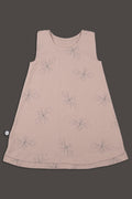 Teens dusty pink tank dress with prespective print