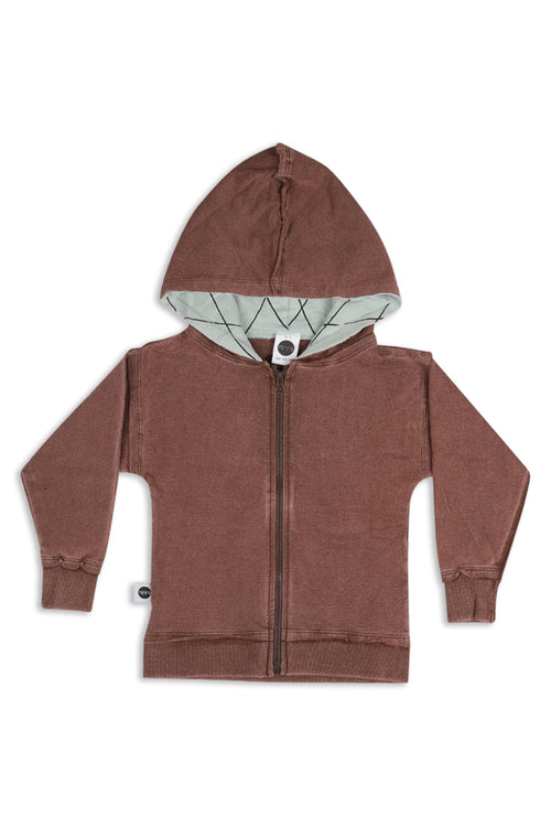 Kids & Teens unisex Brown zip hoodie