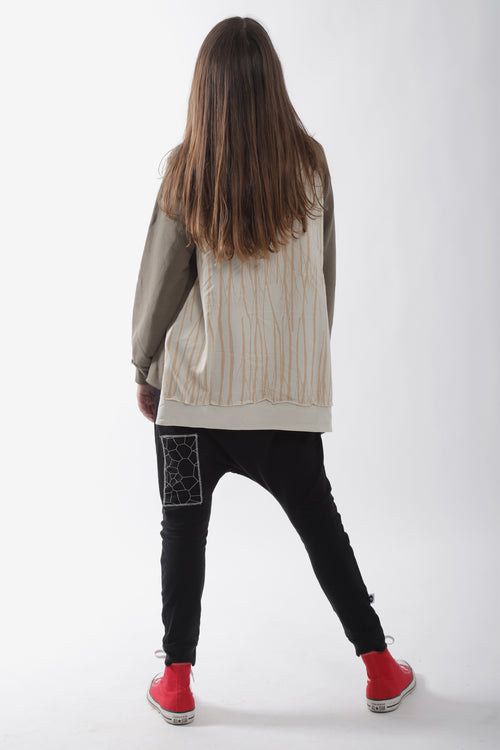 Teens khaki tunic sweatshirt with ivory trees print at the back