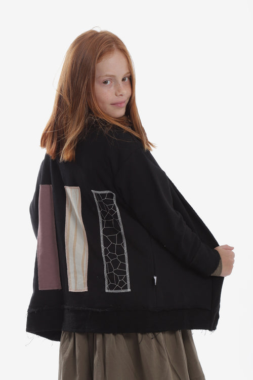 Unisex black cardigan with patches at the back