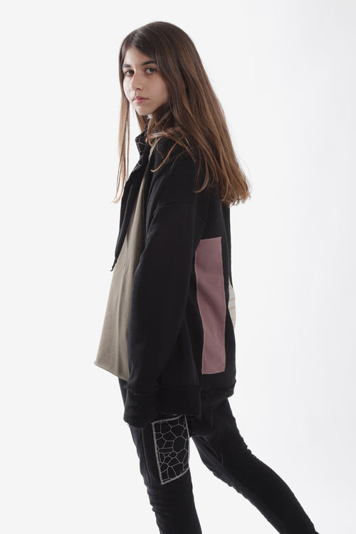 Teens unisex black cardigan with patches at the back