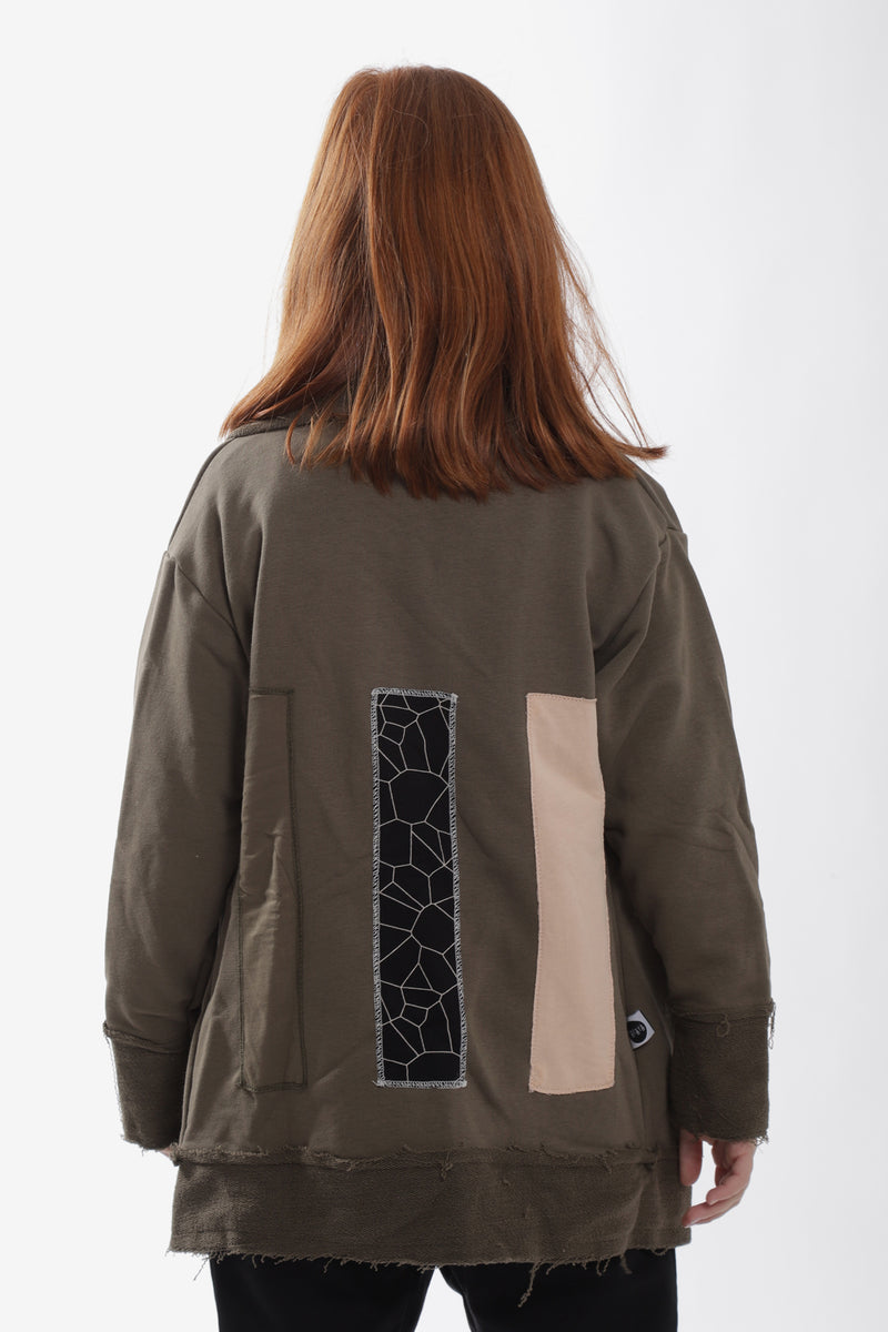 Unisex khaki cardigan with patches at the back