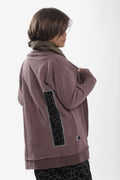 Unisex dusty lavender cardigan with patches at the back