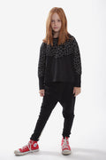 Girls black with black cracks print triangle A line shaped shirt