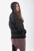 Women black cracks print hoodie with black panels at the back