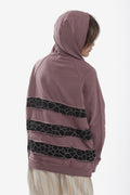 Teens dusty lavender hoodie with black cracks panels at the back