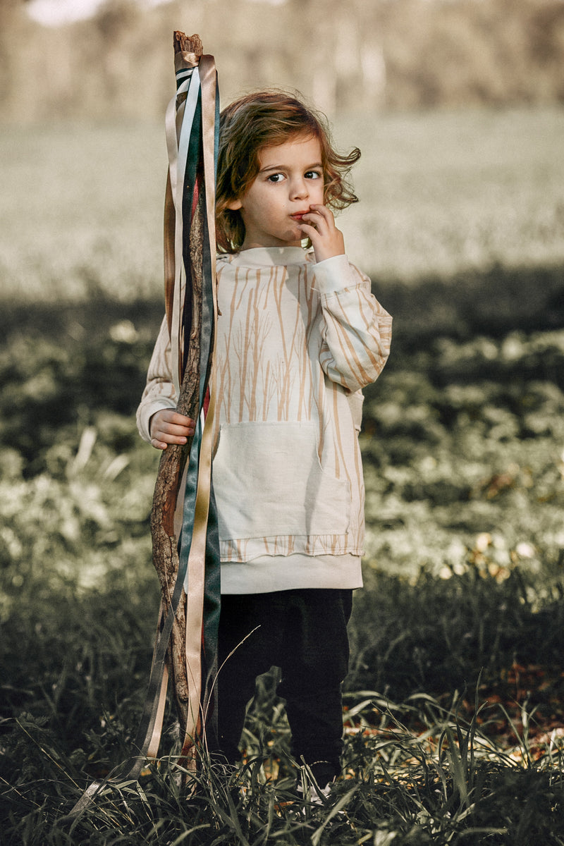 Kids ivory trees hoodie with ivory panels at the back
