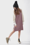 Teens dusty lavender straight dress with ivory trees bat sleeves