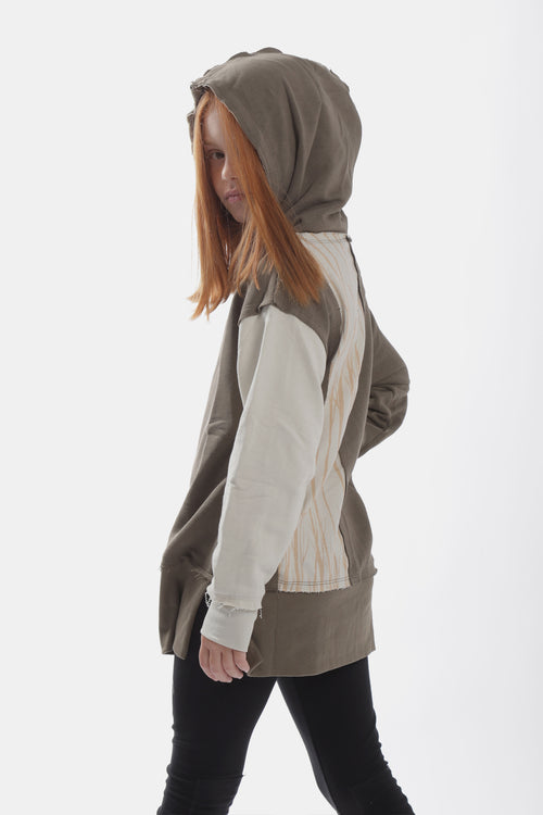 Khaki hoodie with ivory trees panel at the back