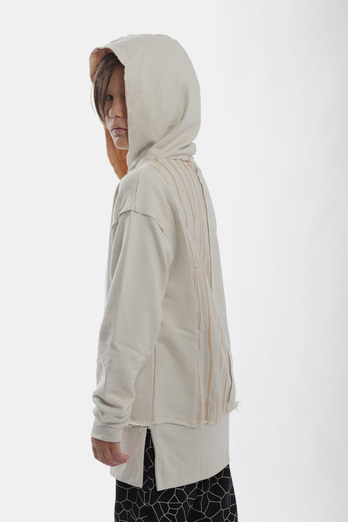 Ivory hoodie with ivory trees panel at the back