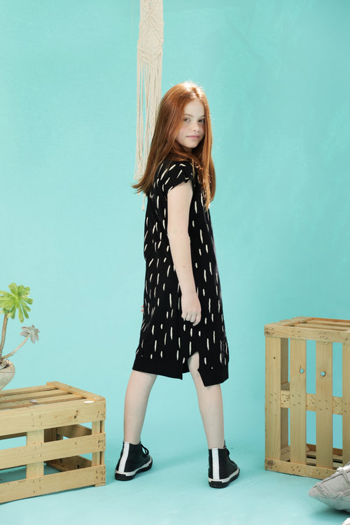 Teen girls black midi dress