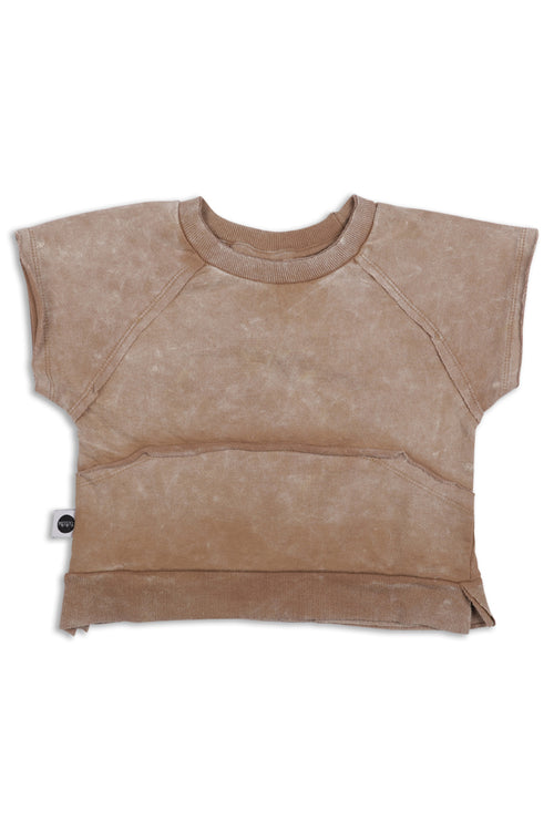 Baby dusty brown unisex square short sleeve sweatshirt