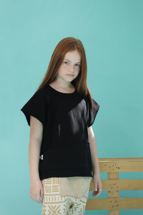Teens black unisex square short sleeve sweatshirt